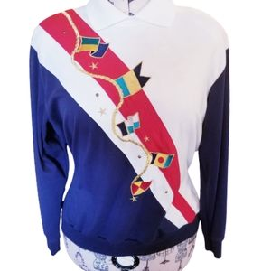 Vtg Nautical Flag Outdoor Long Sleeve Sweater Top